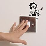 Недорогие -настенные наклейки наклейки, переключения современные сексуальная девушка ПВХ стены стикеры