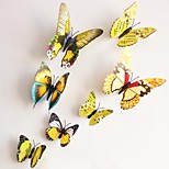 cheap -Wall Stickers Wallk Decals, Yellow Magnetic Butterfly Sticker PVC Wall Stickers.