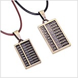 Tina -- Korean Fashion Alloy Abacus Leather Couple Necklace in Party