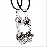 Tina -- Korean Fashion Alloy Heart Leather Couple Necklace in Party