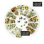 Недорогие -80PCS Mixs Размер Круглый заклепки ногтей Golden & Silver Украшения