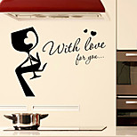 cheap -Wall Stickers Wall Decals Style with Love For You English Words & Quotes PVC Wall Stickers