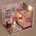 творческие подарки DIY Craft дар рождения хижина модели поделок кукольный домик, включая все мебель огни лампы во главе