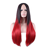 Harajuku Black Red Ombre Wig Pelucas Pelo Straight Natural Synthetic Wig Heat Resistant Halloween Perruque Cosplay Wigs
