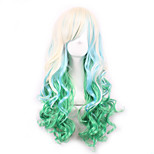 Beige/Green Lolita Ombre Wig Pelucas Pelo Natural Synthetic Wig Heat Resistant Perruque Anime Cosplay Wigs Curly Peruca