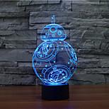 бб-8 с сенсорным затемнением 3D LED ночь свет 7colorful украшения атмосфера новизны светильника освещения свет рождества