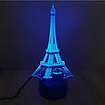 Эйфелева башня касания затемнением 3D LED ночь свет 7colorful украшения атмосфера новизны светильника освещения свет рождества