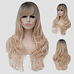 Light golden wavy hair and the wind nightclub performances Street color million with a partial wig.