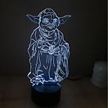 Yoda дотрагивайтесь затемнением 3D LED ночь свет 7colorful украшения атмосфера новизны светильника освещения свет рождества
