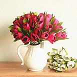 Недорогие -1 Филиал Полиэстер Пластик Тюльпаны Букеты на стол Искусственные Цветы