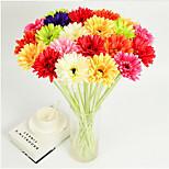 Недорогие -1 Филиал Полиэстер Пластик Ромашки Букеты на стол Искусственные Цветы