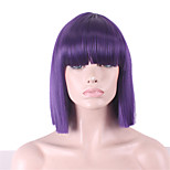 Women Synthetic Wig Straight Yaki Purple Bob Haircut With Bangs Cosplay Wig Halloween Wig Carnival Wig Costume Wig