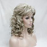 abordables -Perruque Synthétique Bouclé Bouclé Avec Frange Perruque Moyen Blond Cheveux Synthétiques Femme Blond Hivision