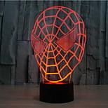 Человек-паук касания затемнением 3D LED свет ночи 7colorful украшения атмосфера новизны светильника освещения свет рождества