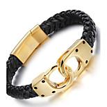 Муж. Кожаные браслеты Мода Нержавеющая сталь Кожа Позолота 18K золото Геометрической формы бесконечность Бижутерия Для вечеринок День