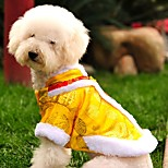 Cat Dog Coat Sweatshirt Dog Clothes Fashion New Year's Embroidered Yellow Red Costume For Pets