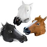 cheap -Halloween Novelty Creepy Rubber Animal Mane Horse Head Mask Head Halloween Masquerade Cosplay Mask Party Costume Prop