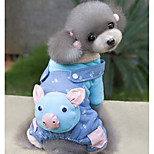 Dog Jumpsuit Dog Clothes Cute Cartoon Blue Pink Costume For Pets