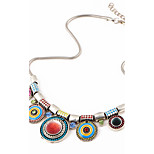 cheap -Splendid Womens Bib Statement Necklace Luxury Colorful Rhinestone Geometric Chunky Necklace Jewelry