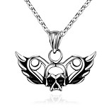 Men's Pendant Necklaces Stainless Steel Skull / Skeleton Unique Design Dangling Style Punk Hip-Hop Silver Jewelry Halloween Daily 1pc