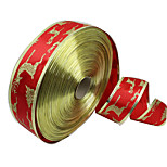 cheap -1PC 5CM Wide Christmas Decorative Ribbon Christmas Supplies Red Gold Phnom Penh Christmas Tree Deer Ribbon