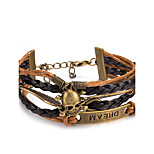 Men's Women's Leather Bracelet Wrap Bracelet Jewelry Friendship Multi Layer Punk Adjustable DIY PU Alloy Skull / Skeleton Wings / Feather