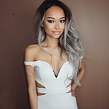 Fashion Ombre Silver Grey Long Straight Synthetic Wigs Glueless Heat Resistant Hair Women Wig