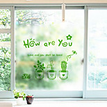 cheap -Floral Classical Window Sticker, PVC/Vinyl Material Window Decoration Dining Room Bedroom Living Room