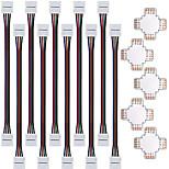 Недорогие -ZDM 5pcs быстродействующий соединитель разветвитель 10мм формы 4 проводника для 5050 с RGB 10pcs 5050 RGB свет прокладки разъема