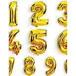 Недорогие -10pcs 16 дюймы 0-9 золотых шары номера серебряной фольги цифра воздушных шариков счастливой свадьбы дня рождения поставка партии украшение