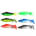 4 pcs Soft Bait Fishing Lures Soft Bait Black Green Jasmine Green Red Blue Dark Green g/Ounce,90 mm/3-1/2