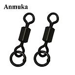 Anmuka 50Pcs/Lot Matte Black Fishing Rolling Swivel With Solid Ring Carp Rigs Long Body Fishing Swivel Connector