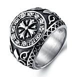 Муж. Массивные кольца Кольцо Кристалл Мода Панк По заказу покупателя Хип-хоп Rock Euramerican Титановая сталь Круглой формы Бижутерия