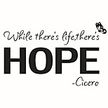 cheap -Wall Stickers Wall Decas Style There's Life There's Hope English Words & Quotes PVC Wall Stickers