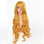 Long Wavy Heat Resistant Synthetic Hair Yellow Color Cosplay Costume Wig  High Temperature Fiber Wig