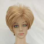 Woman Sexy Hair Wig with Dark Roots Blonde Mixed Short Layered Synthetic Straight Wig High Temperature Fiber