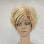 Woman Shag Blonde Mixed Short Layered Synthetic Straight Hair Wig High Temperature Fiber