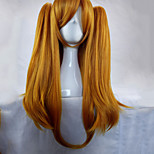 Woman 70cm Long Straight Braided Orange Synthetic Hair Party Wig 2 Clips Ponytail Cosplay Wigs