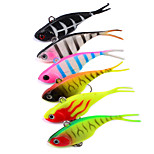 HiUmi 6Pcs/Lot 3D Eyes Lead Fishing Lures With Flexible Tail Soft Fishing Lure Single Hook Baits Artificial Bait Jig Wobblers Rubber 68mm 9g