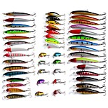 48 pcs/lot of Fishing Lures Crankbaits Hooks Minnow Hard Fishing Baits Tackle Mixed color