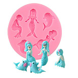 Dolphin Mermaid Silicone Mold Chocolate Fondant Cake Decorating Tools Kitchen Baking