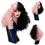 New Curly Hair Wig Mix Color Half Black Half Pink Synthetic Wig Curly Afro Wig Heat Resistance Cosplay Wigs For Women