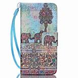 Caso para apple ipod touch 5 touch 6 estojo de capa porta-carteira com suporte flip pattern estojo de corpo inteiro elefante hard pu