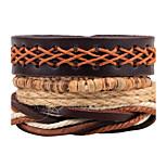 Муж. Жен. Wrap Браслеты Кожаные браслеты Мода Регулируется По заказу покупателя Rock Ручная работа Кожа Рисунок