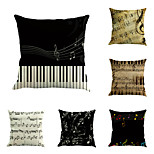 Set Of 6 Classical Music Notes Printing Pillow Cover Vintage Square Pillow Case