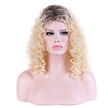 Women Long Beige Blonde Curly Ombre Hair Synthetic Hair Capless Natural Wig