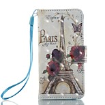 Case For Apple ipod touch 5 touch 6 Case Cover Card Holder Wallet with Stand Flip Pattern Full Body Case Eiffel Tower Hard PU Leather