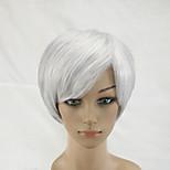 2 Tones Gray White Mixed  Woman Short Straight Natural Synthetic Hair Wig High Temperature Fiber