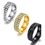 Men's Women's Band Rings AAA Cubic Zirconia Basic Fashion Vintage Hip-Hop Gothic Classic Titanium Steel Circle Jewelry For Party Birthday