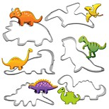 cheap -6pc/set Stainless Steel dinosaur Shape Cookie Cutter 3D Biscuit Pastry Fondant Omelette Cookie Decorating Mold DIY Cake Tools